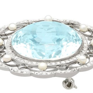 43.84 ct Aquamarine, 0.85 ct Diamond and Pearl, Platinum Brooch - Antique Circa 1910