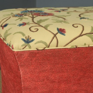 Large Antique English Victorian Mahogany & Crewel Work Upholstered Concave Ottoman Box Stool Trunk (Circa 1870)
