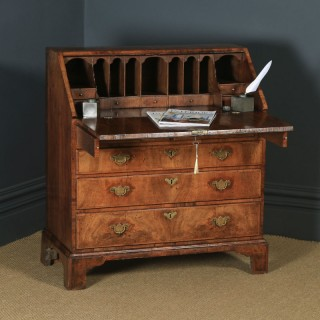 Antique English 18th Century Georgian Figured Walnut Feather Banded Bureau Desk (Circa 1730)