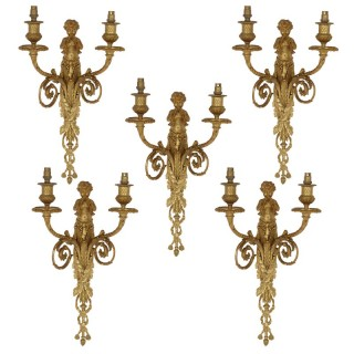 Set of five Neoclassical style gilt bronze sconces