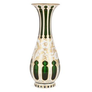 Antique Bohemian overlay and gilt green vase