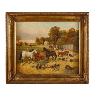 Painting of horses and farm animals by Herring the Younger