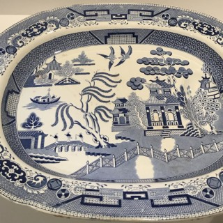 C19th Staffordshire Turkey Plate with Well