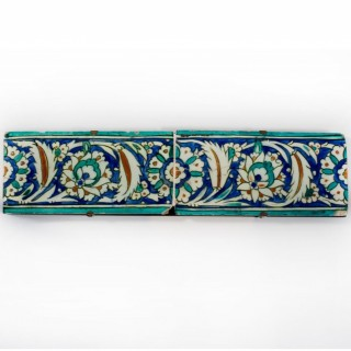 Two Ottoman Iznik border tiles, circa 1600