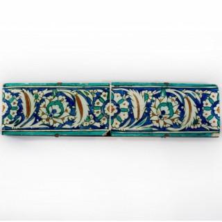 Two Ottoman Iznik border tiles, circa 1600