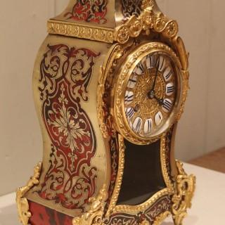 Small French Tortoiseshell and Brass inlay Mantel Clock