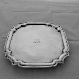 Fine crested George I silver square salver London 1726