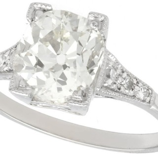 2.45 ct Diamond and Platinum Solitaire Ring - Antique Circa 1930