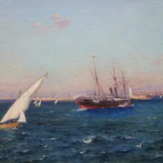 L'entrée du port de Marseille  by  Adolphe Louis Gaussen (1871-1954)