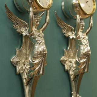 Bronze cast Wall clock and Barometer by Blot et Drouard