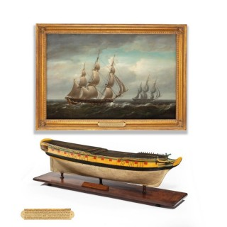 A carved and painted model of HMS Emerald, 1811 and 'HMS Emerald and HMS Amethyst' by Pocock