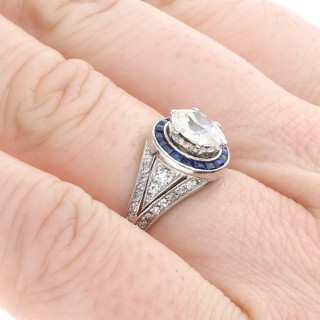 2.59 ct Diamond, 0.48ct Sapphire and Platinum Dress Ring - Antique Circa 1930