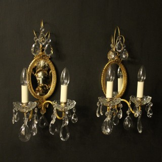 French Pair Of Twin Arm Antique Girandoles