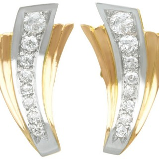 4.06ct Diamond and 18ct Yellow Gold Earrings - Art Deco - Vintage French Circa 1940