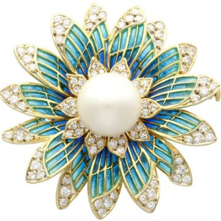 Pearl and 2.05 ct Diamond, 14ct Yellow Gold Plique-a-Jour Brooch - Vintage Circa 1950