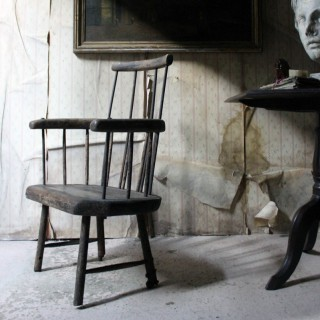 An 18thC Primitive Oak & Iron Comb-Back Windsor Armchair c.1780