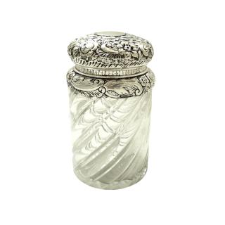 Large Antique Victorian Sterling Silver Glass Jar 1889