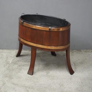 Mahogany Oval Wine Cooler / Jardiniere