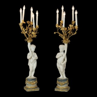 A Pair of Marble and Alabaster Candelabra By Henry Dasson