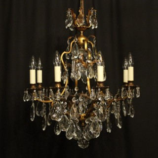 French Gilded Bronze & Crystal Chandelier