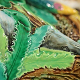 George Jones Majolica Goose & Fish Game Dish