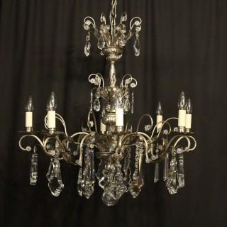 Italian Silver & Crystal Genoa 8 Light Chandelier
