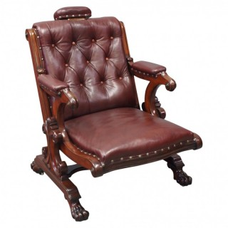 William IV Mahogany and Burgundy Leather Armchair