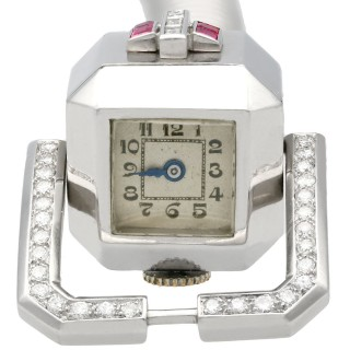 1.56 ct Ruby, 1.02 ct Diamond Ladies Cocktail Watch in 9 ct White Gold - Art Deco - Vintage Circa 1940