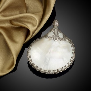 A Spanish Colonial silver mounted mother of pearl priming flask