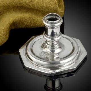 A little 17th century silver Spanish night light Candlestick