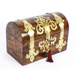 Antique Burr Walnut Cut Brass Mounted Stationery Box c1860 19th C