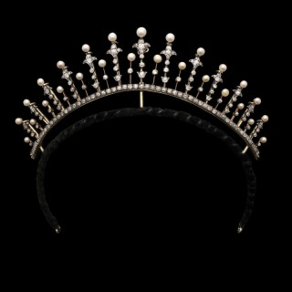 Antique Victorian Diamond and Pearl Fringe Tiara circa 1890