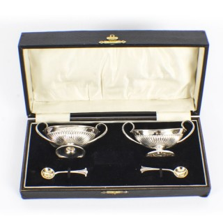 Antique Pair of Sterling Silver Salts & Spoons by Fenton Bros 1881 19th C