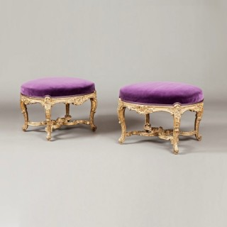A Fine Pair of Antique Giltwood Footstools