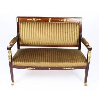 Antique French Empire Revival Ormolu Mounted 5 Piece Salon Suite c.1880 19th C