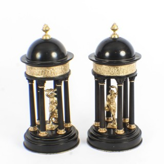 Antique Pair of Grand Tour Marble & Ormolu Colonnade Temple Models 19th C