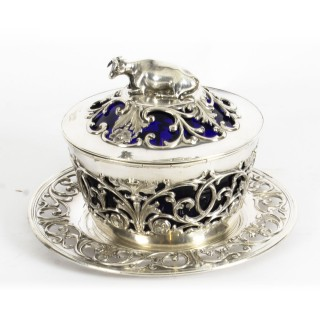 Antique Old Sheffield Silver Plated & Bristol Blue Glass Butter Dish 19th C
