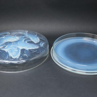 Rene Lalique Clear & Opalescent Glass 'Cyprins' Box