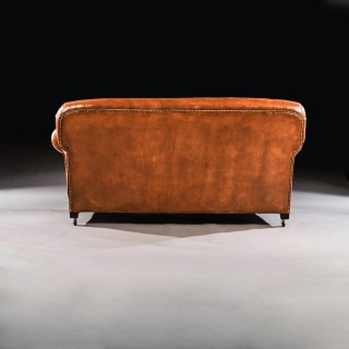 Late Victorian Leather Upholstered Drop-Arm Sofa
