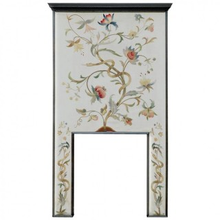 Glasgow School Arts & Crafts Oak and Crewelwork Fire Surround, circa 1900