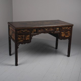 Chinese Gilded and Black Lacquered Desk