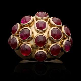 Retro Gold and Cabochon Ruby Bombe Ring circa. 1940s by Suzanne Belperron