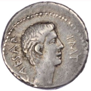 OCTAVIAN AND MARK ANTONY, SILVER DENARIUS