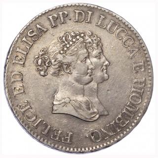 ITALY, LUCCA AND PIOMBINO, ELISA BONAPARTE WITH FELICE BACIOCCHI, SILVER 5 FRANCHI