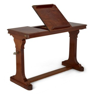 Antique English wooden desk with reading stand
