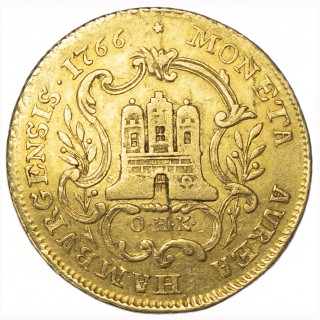 GERMANY, FREE CITY OF HAMBURG, GOLD 2 DUCATS, IN THE NAME OF JOSEPH II, 1766