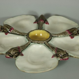 Wedgwood Majolica Dolphin/Fishes Oyster Plate