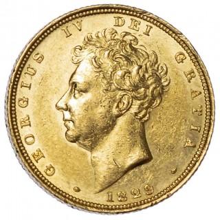 GEORGE IV (1820-30) 1829, SOVEREIGN, BARE HEAD