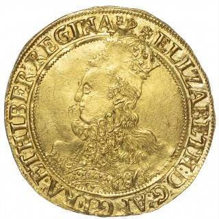 ELIZABETH I (1558-1603), SIXTH ISSUE, POUND, INITIAL MARK KEY OVER WOOLPACK (C.1594-98)