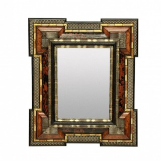 AN IMPRESSIVE DUTCH CUSHION MIRROR IN TORTOISESHELL & SILVER
